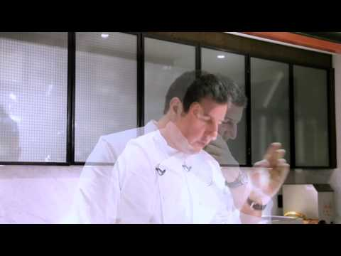 Claude Bosi demonstrates carpaccio of Cardigan Bay prawns