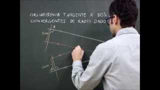 Geom  plana, circunferencia  tangente a dos rectas secantes dado el radio de ella