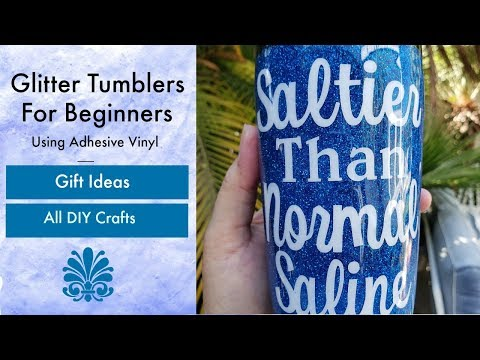 Beginner Glitter Stainless Steel Tumbler Cup Using Epoxy and Vinyl Tutorial For Nurses