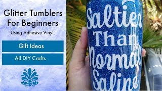 Beginner Glitter Stainless Steel Tumbler Cup Using Epoxy and Vinyl Tutorial For Nurses