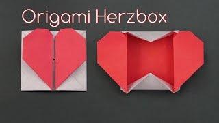 Muttertagsgeschenke basteln:  einfache Origami Herzbox falten - DIY
