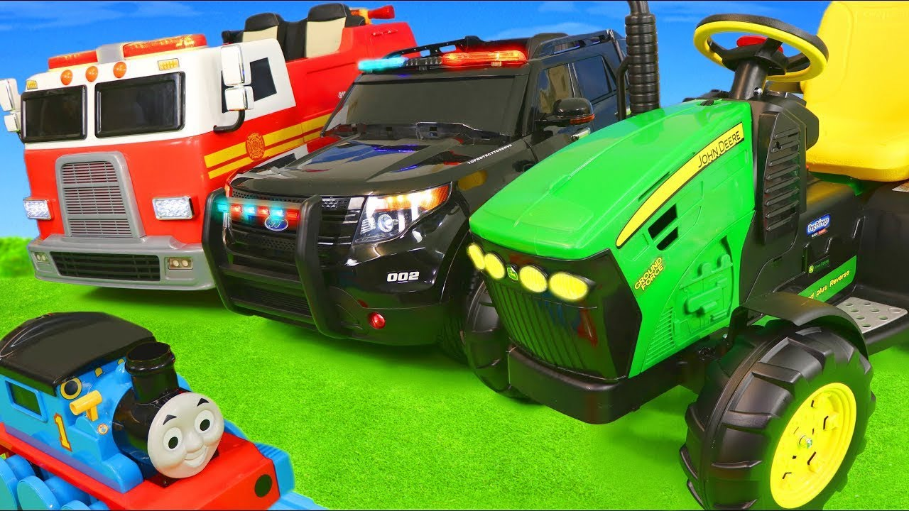 Fire Truck Excavator Tractor Train Police Cars Ride