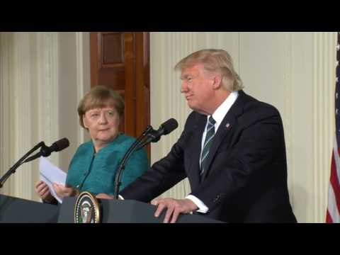 'At least we have something In common perhaps' Donald Trump with Chancellor Merkel