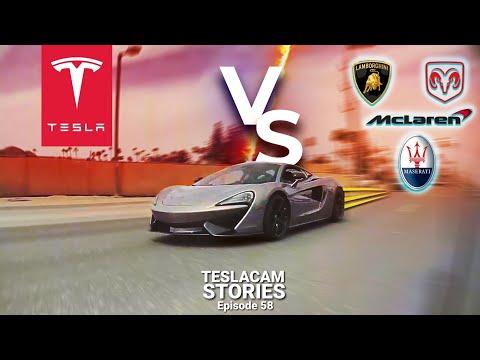 TESLA VS SUPERCARS STREET RACING | TESLACAM STORIES #58