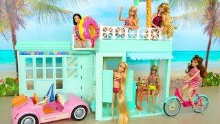 Beach Bungalow house for Barbie Beach Cruiser Puppenhaus Casa praia باربي البيت Rumah boneka Poupée