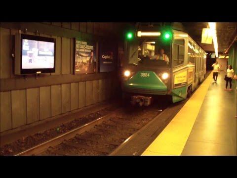 MBTA: Boston T: Inbound Green Line Train Arriving Kenmore
