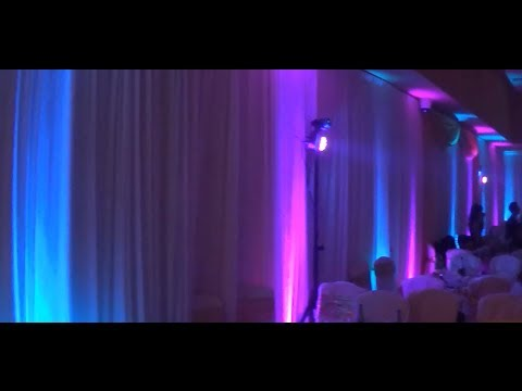 Wedding Decoration Ideas Purple Blue UpLighting Table Color Wash Effec