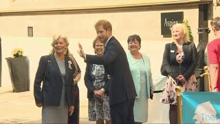 Prince Harry arrives to cheers from adoring fans in Leeds