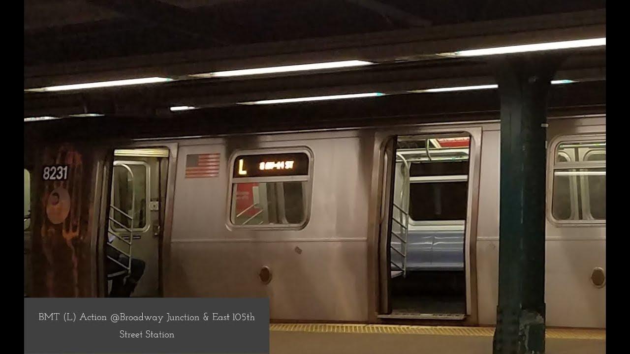 MTA NYCT Subway: Kawasaki R143 & Alstom R160A-1 (L) Trains @Broadway