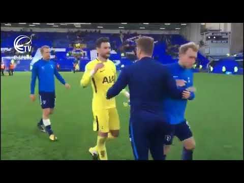 Pochettino celebrates with Tottenham players/fans - Everton 0-3 Tottenham