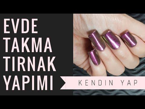 1 TL'YE EVDE TAKMA TIRNAK NASIL YAPILIR? - Pet şişe ile - DIY  Fake Nails Wi