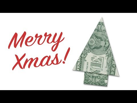 Easy Money Origami Christmas Tree Making Instructions 🎄