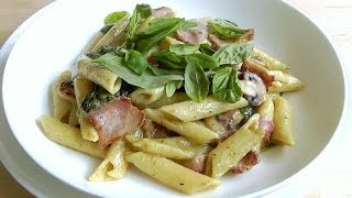 How To Make Creamy Pasta Bacon Mushroom Quick Simple Recipe