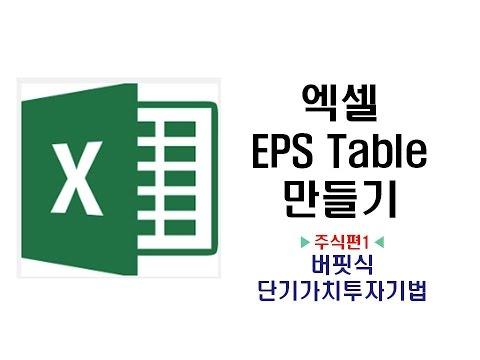 [부동산/경제강의] 배수의 법칙 NO.3 엑셀로 EPS 분석 Table 만들기 라이브 실전학습(당신을 워렌버핏으로 만들어 드립니다)
