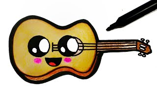 HOW TO DRAW A CUTE GUITAR