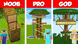 Minecraft NOOB vs PRO vs GOD JUNGLE TREE HOUSE BUILD CHALLENGE in Minecraft  Animation