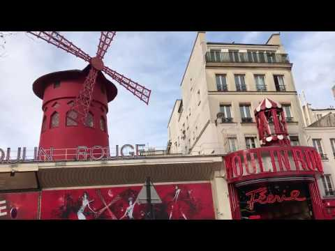 Travel in Paris, France  Day 1, Moulin Rouge Cabaret. March 21, 2017