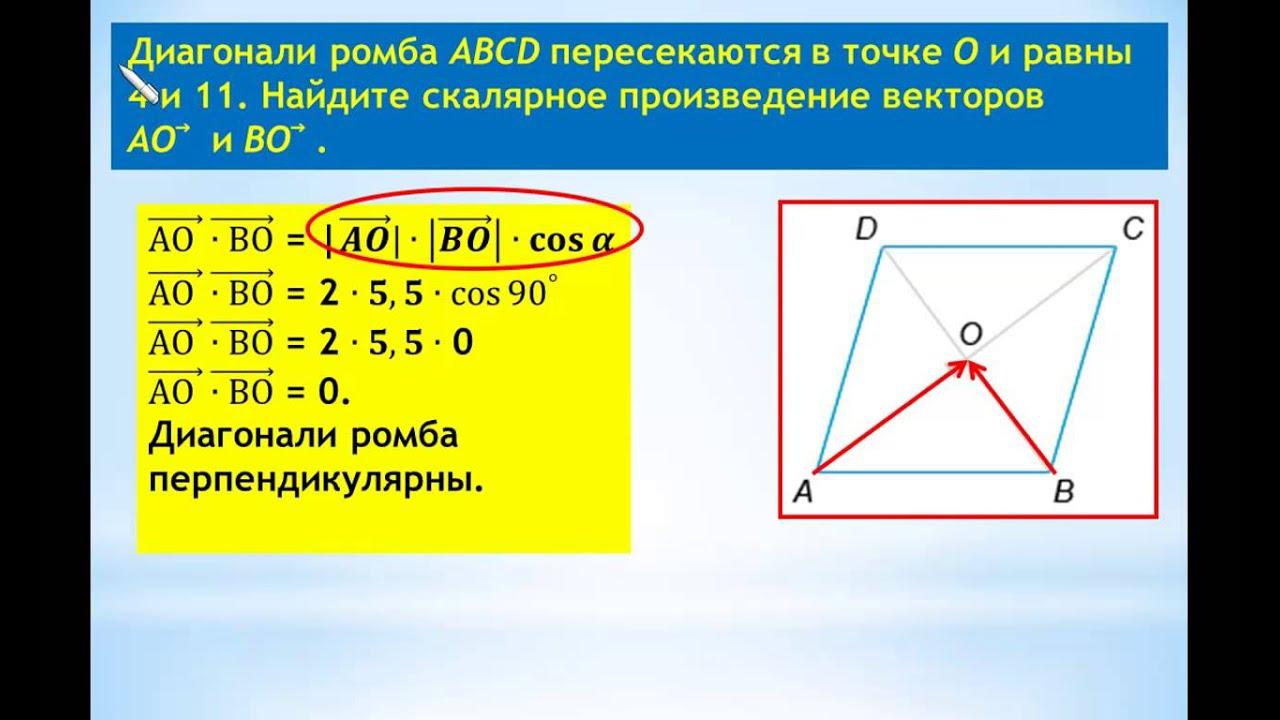 ЕГЭ-2014 Задание В-5 Урок №85 Найти скалярное произведение векторов.