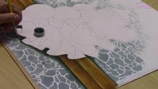 Pintura em Tecido – Bule Com Maçãs e Técnica com Stencil