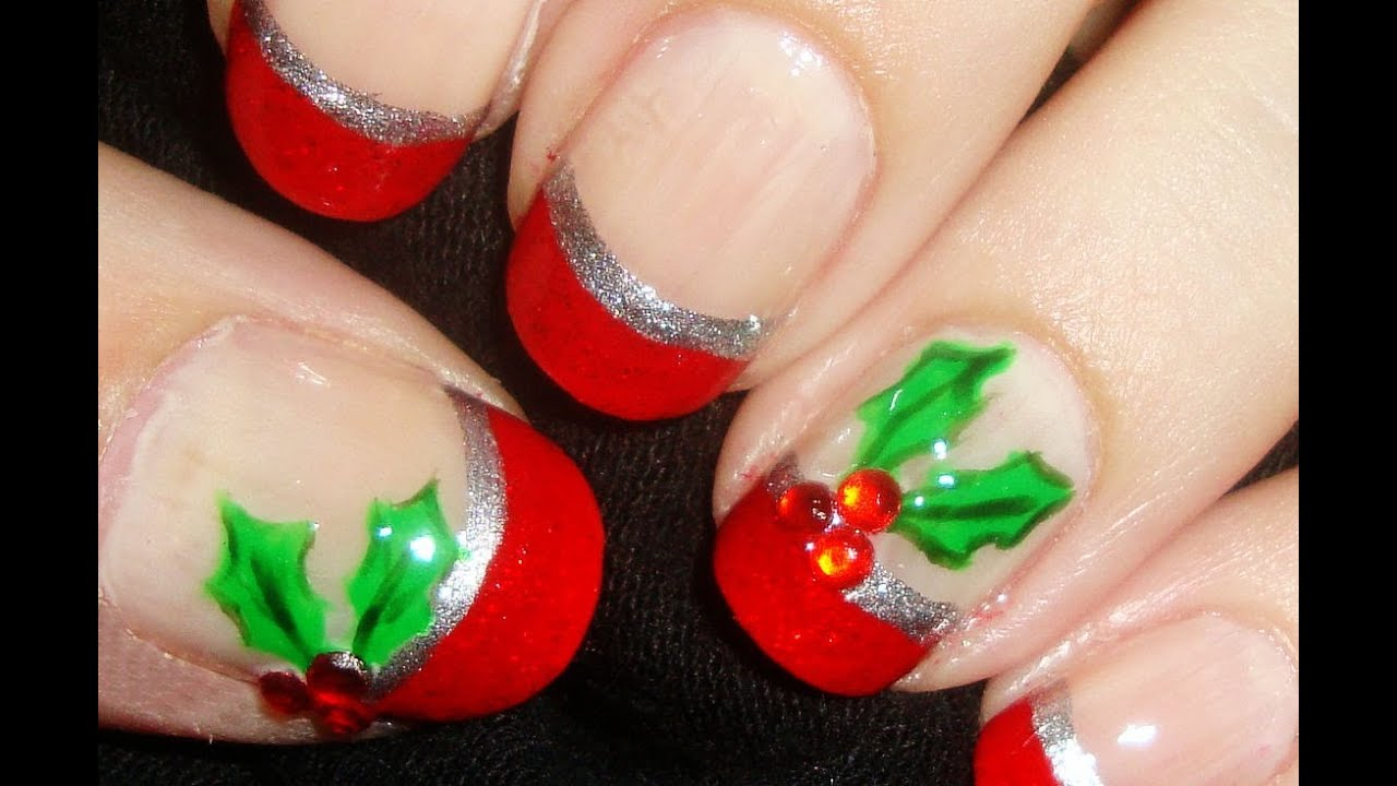Simple rhinestone holly nails youtube prinsesfo Gallery