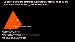 El típico problema de la altura de una pirámide cuadrangular (Teorema de Pitágoras)