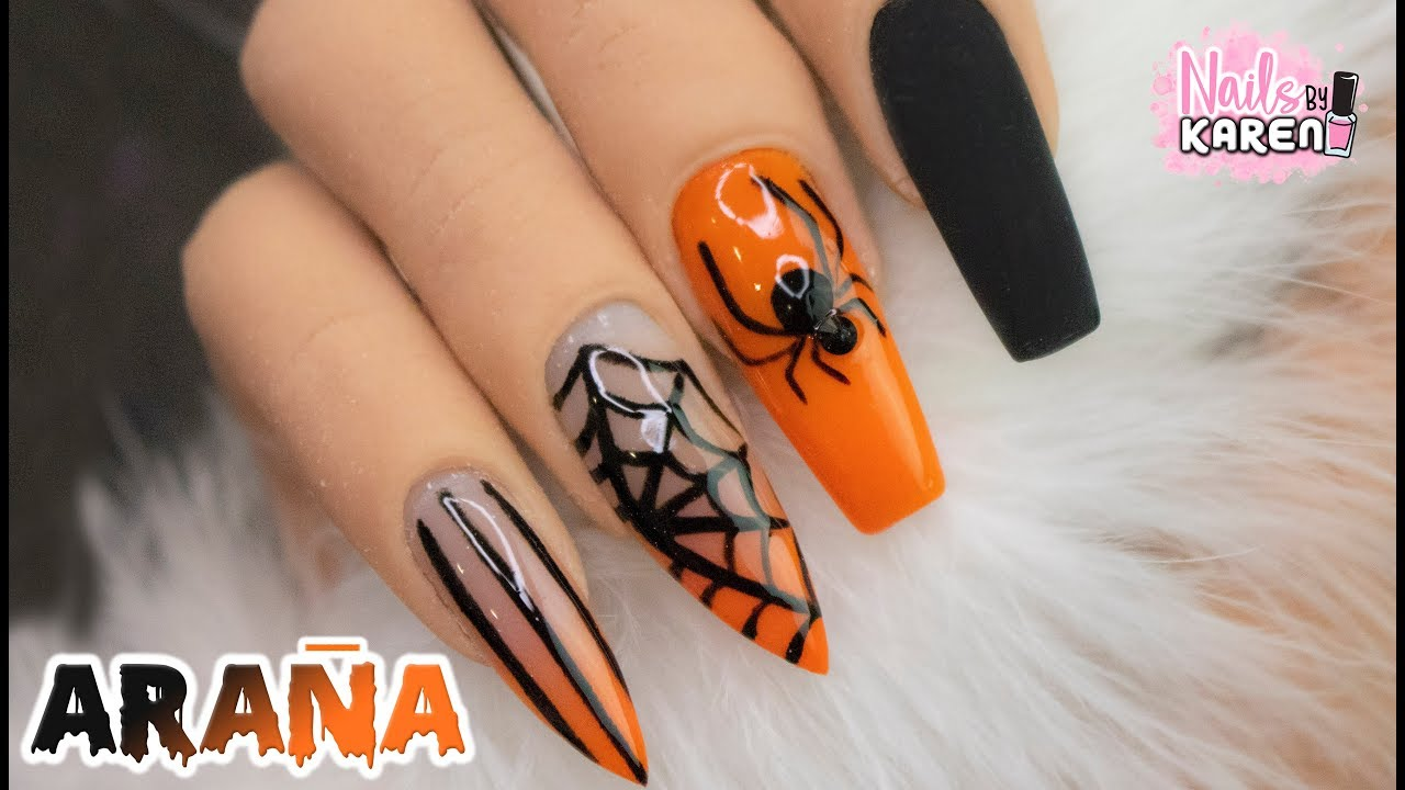 Uñas Largas Con Acrilicos De Color Halloween Youtube
