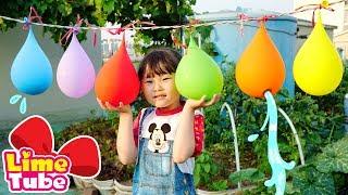 [시원한 물풍선 터트리기] 라임의 핑거패밀리 율동동요 인기동요  LimeTube & Toy 라임튜브