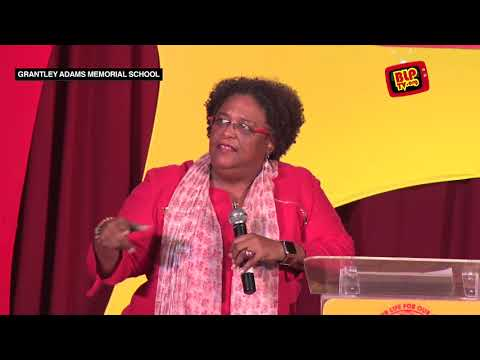 Mia Mottley at the Community Meeting in St. Joseph