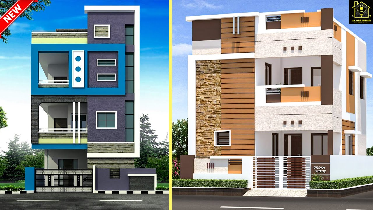 2 Floor Elevation Design Ideas 2020 Double Floor Elevation   Home Front Staircase Design   Entrance Front Door Stair   Home Jina   Ghar   Roof Railing Brick   Outer Wall