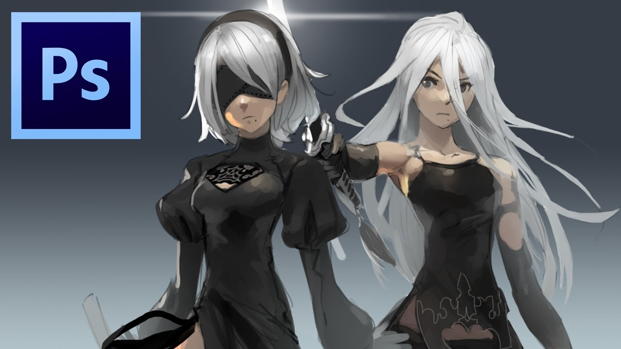 2B and A2 - Nier: Automata (Photoshop Painting)