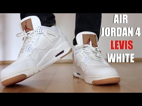 34f553392c8453 LEVIS JORDAN 4 WHITE REVIEW + ON FEET