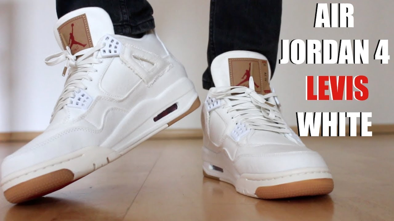 4beaab060c3a03 LEVIS JORDAN 4 WHITE REVIEW + ON FEET - YouTube