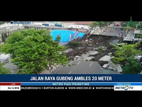Kondisi Terkini Di Jalan Gubeng Surabaya Yang Ambles