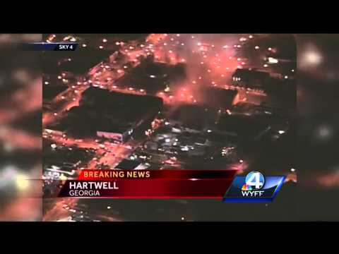 Crews Continue To Battle Fire At Hartwell Business