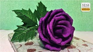 Super easy way to make purple rose paper flower| diy rose crepe paper flower making tutorials