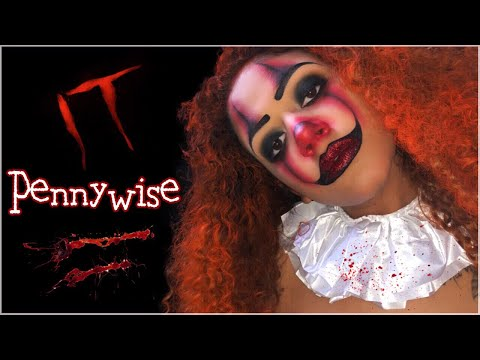 "GLAM PENNYWISE ""IT"" HALLOWEEN MAKEUP TUTORIAL 2018 thumbnail"