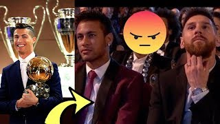 Ronaldo Wins Ballon d'Or: Watch How Messi & Neymar React...