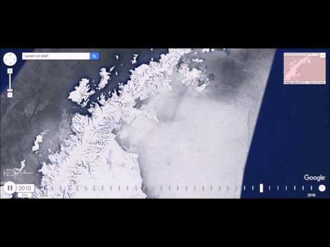 Larsen Ice Shelf, Antarctica Shrinking Over Time