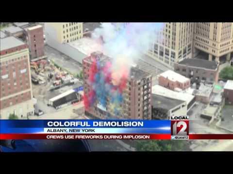 11 story Albany hotel demolished amid fireworks