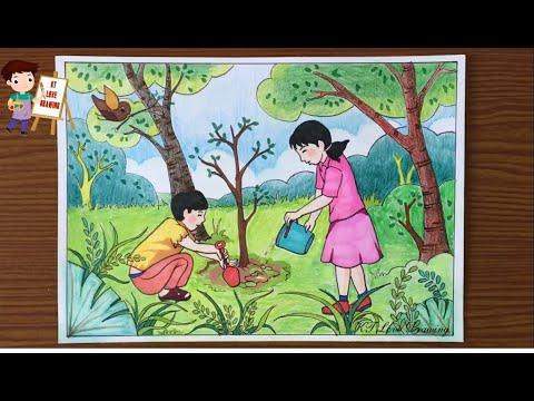 Vẽ tranh đề tài lao động: Trồng cây bảo vệ môi trường  |  How to paint environmental protection.