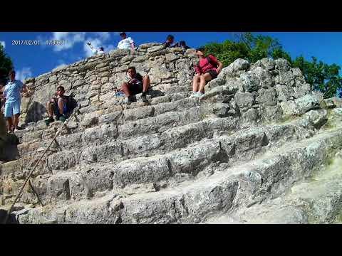 climbing Mayan pyramid in the ancient city of Coba