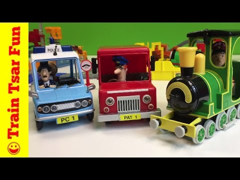 Postman Pat and His Black & White Cat Friction Action 3 Vehicle Set - Rocket train