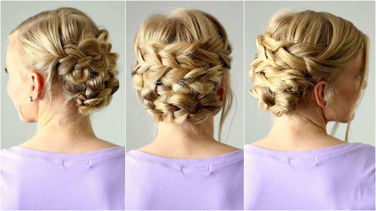 braided updo shorter hair