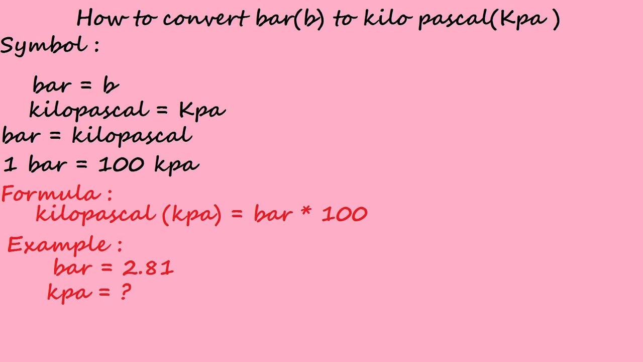 1 bar pascal: