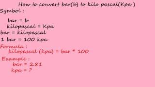bar to kilo pascal kpa - pressure converter