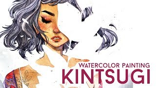 'KINTSUGI' Watercolor Painting Process // Jacquelindeleon
