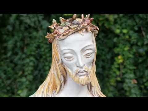 Vintage 1940's Italian Terracotta Jesus Sculpture After Professor Eugenio Pattarino by Ferrari