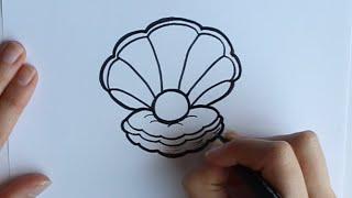 Cómo dibujar una Concha con Perla Dibuja Conmigo Dibujos de Mar