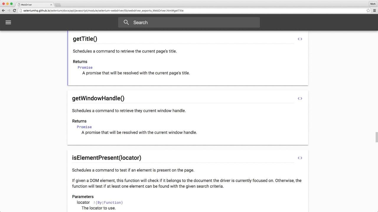 Browsing the WebDriverJS API Documentation — Selenium WebDriver for Node js