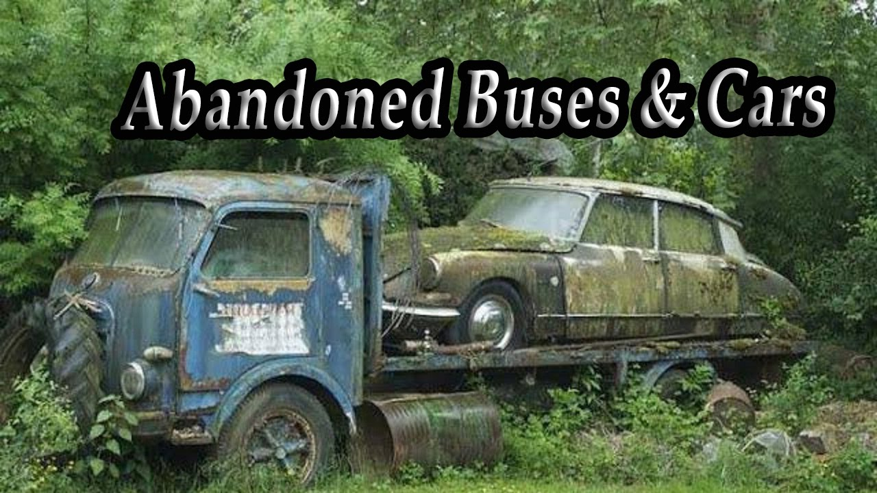 Ghost Abandoned Cars And Trucks In Woods. Abandoned Old Rusty Buses ...